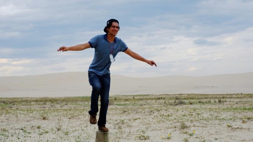 Tony, film shoot at Stockton Sand Dunes